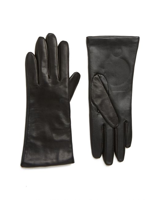 Nordstrom - Black Cashmere Lined Leather Touchscreen Gloves - Lyst