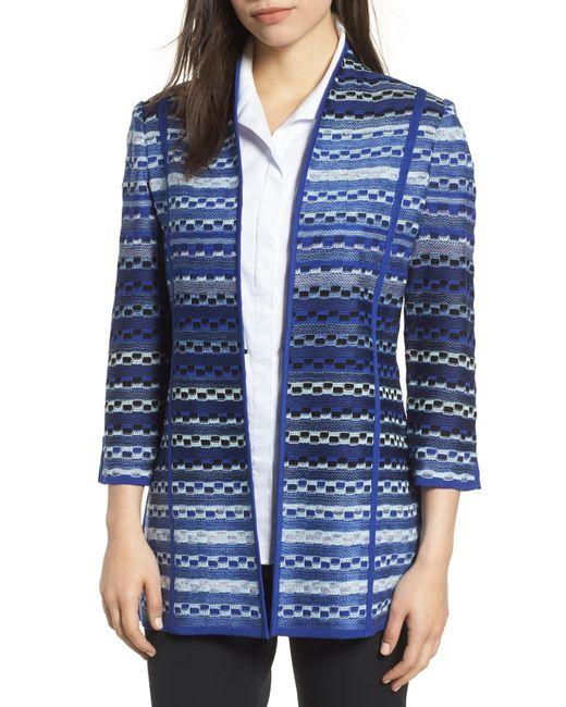 Ming Wang - Blue Stripe Jacquard Sweater Jacket - Lyst