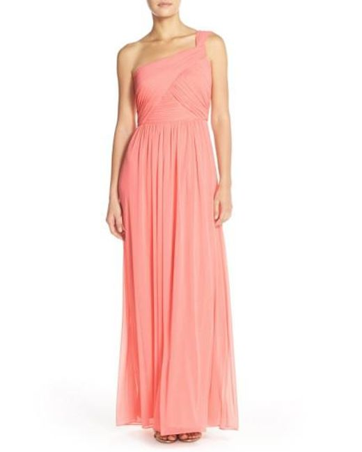 Alfred Sung - Pink One-shoulder Shirred Chiffon Gown - Lyst