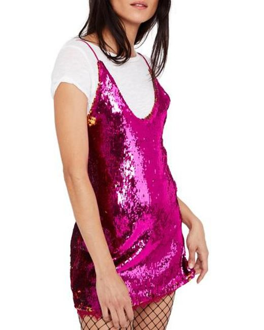 Free People | Pink Seeing Double Sequin Slipdress | Lyst