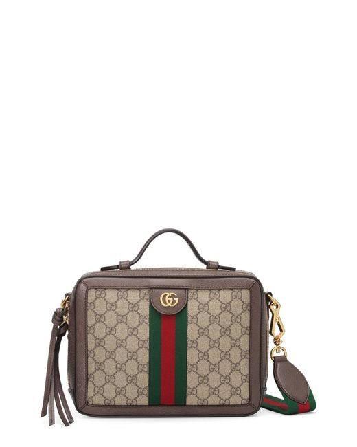 d0ad4dc0f5c Gucci - Brown Small Ophidia Gg Supreme Canvas Shoulder Bag - - Lyst ...