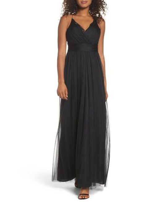 Watters | Black Aria Lace & Tulle Gown | Lyst
