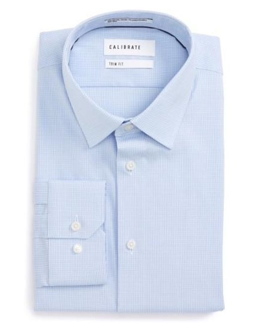Calibrate | Blue Trim Fit Stretch No-iron Check Dress Shirt for Men | Lyst
