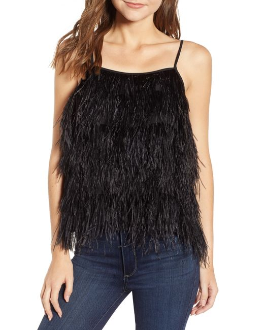 Chelsea28 - Black Feather Camisole - Lyst