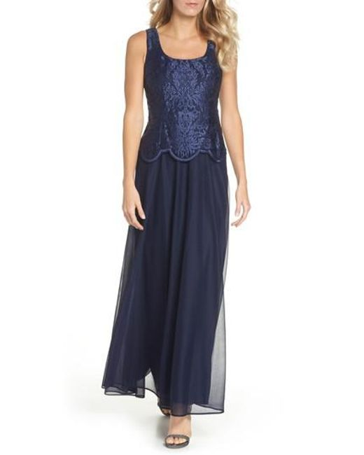 Alex Evenings - Blue Embroidered Gown & Jacket - Lyst