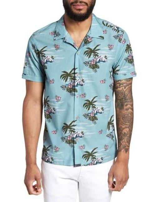 Ted Baker - Blue Slim Fit Tropical Pattern Sport Shirt for Men - Lyst