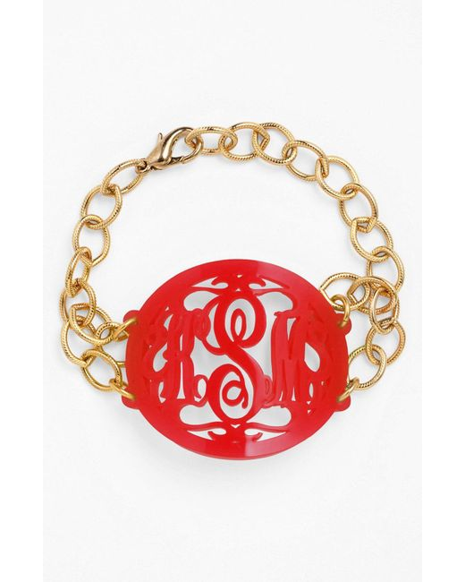 Moon & Lola - Red 'annabel' Large Oval Personalized Monogram Bracelet (nordstrom Exclusive) - Lyst