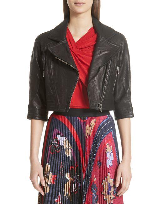 Yigal Azrouël - Black Crop Leather Moto Jacket - Lyst