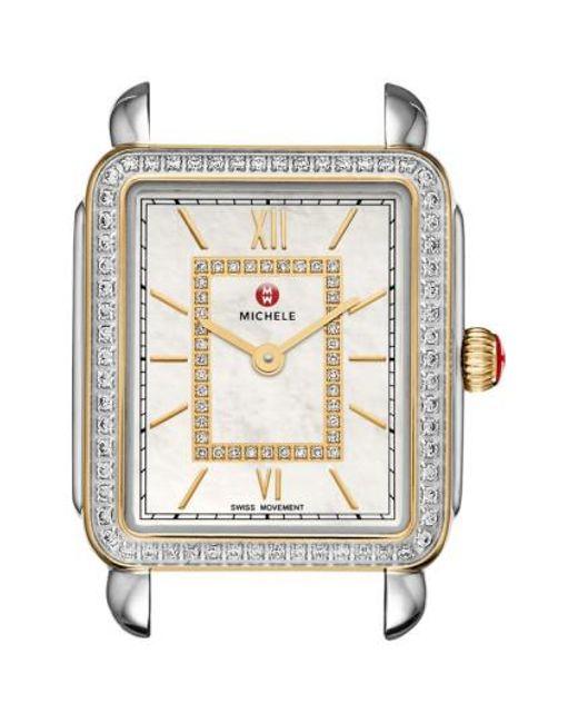 Michele - Metallic Deco Ii Mid Diamond Dial Watch Case - Lyst