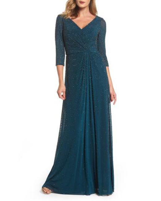 La Femme   Blue Beaded Twist Knot Waist Gown   Lyst