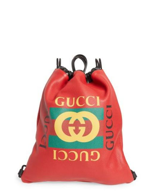 9dc39037 Women's Red Logo Drawstring Leather Backpack