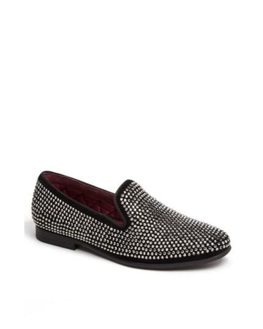 Giuseppe Zanotti Suede loafer with silver studs embellishment CASCADE RhMdG5lWK