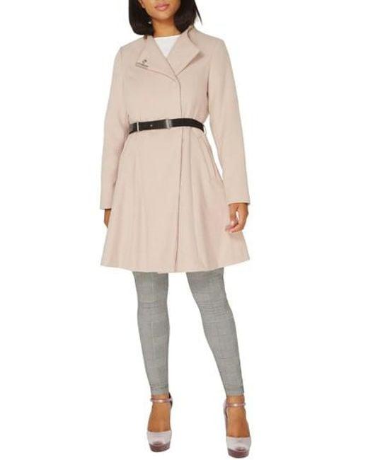 Dorothy Perkins | Natural Skirted Coat | Lyst