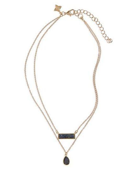 Panacea | Blue Drusy Multistrand Necklace | Lyst