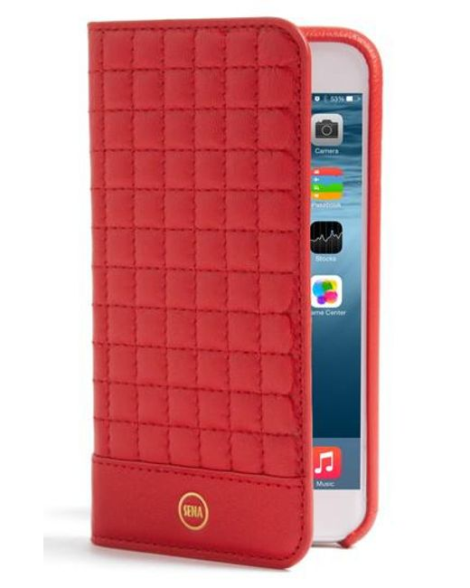 Sena   Red Iphone 7 Quilted Wallet Case   Lyst