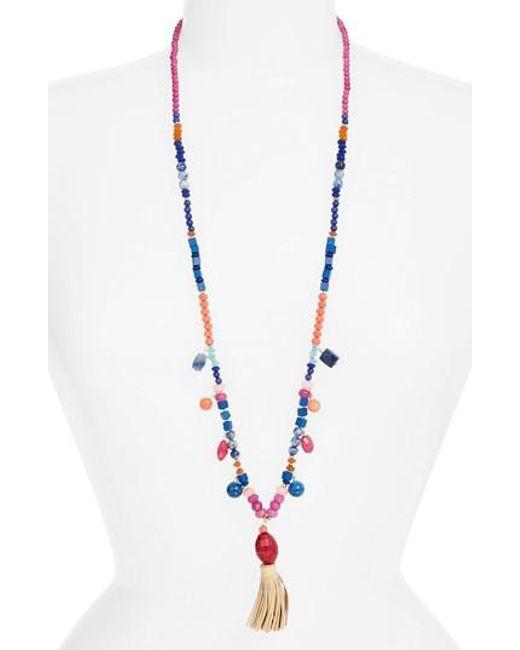 Nakamol Beaded Necklace w/ Crystals & Tassel Pendant 8mMOvb