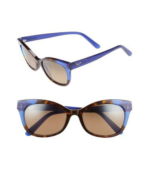 Maui Jim - Ilima 53mm Polarizedplus2 Cat Eye Sunglasses - Dark Tortoise/ Electric Blue - Lyst