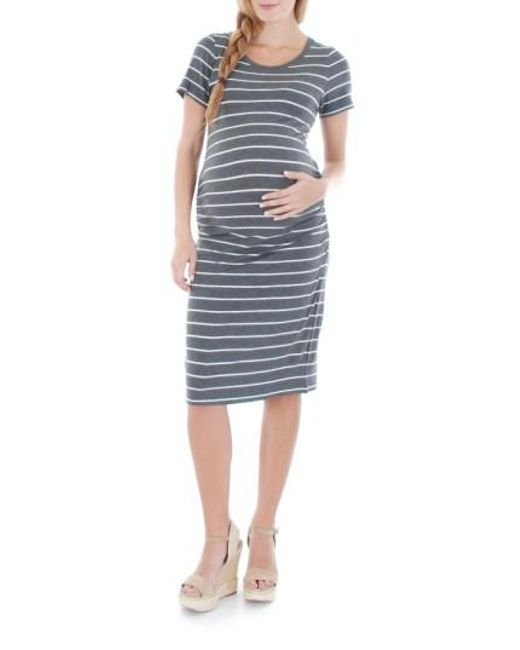 Everly Grey | White Camila Striped Jersey Maternity Dress | Lyst