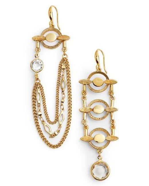 Badgley Mischka | Metallic Asymmetrical Drop Earrings | Lyst
