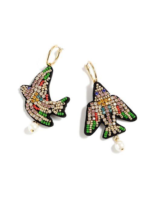 J.Crew - Multicolor Leather-backed Beaded Bird Earrings - Lyst