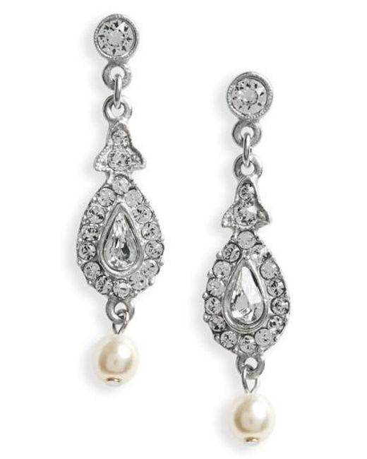 Ben-Amun | Metallic Imitation Pearl & Crystal Drop Earrings | Lyst