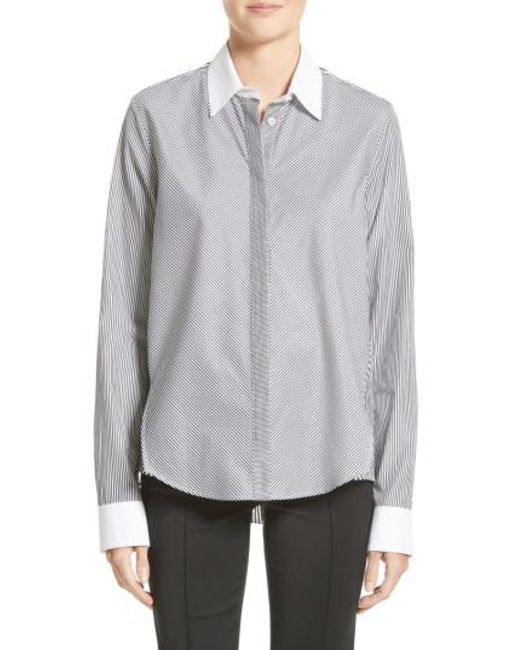 Adam Lippes | Gray Stripe Cotton Trapeze Shirt | Lyst