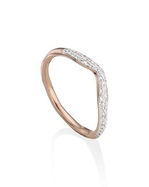 Monica Vinader   Metallic 'riva' Diamond Stacking Ring   Lyst
