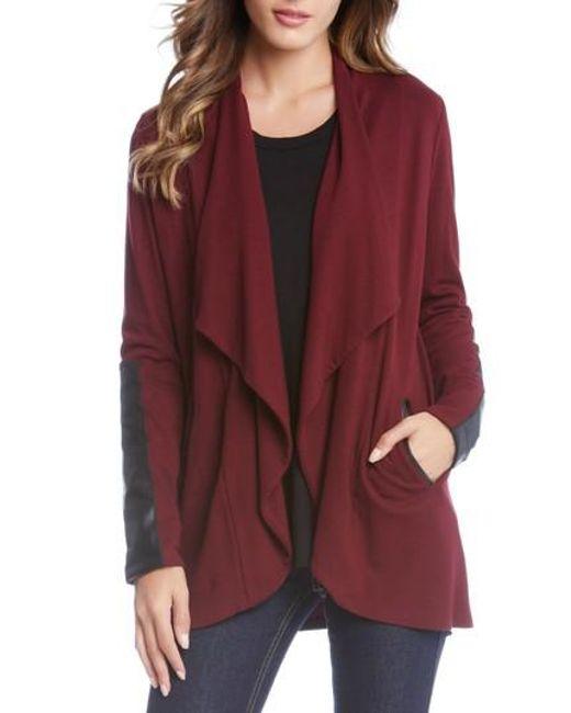 Karen Kane | Red Faux Leather Detail Jacket | Lyst