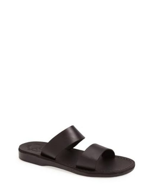 Jerusalem Sandals - Black 'aviv' Leather Sandal for Men - Lyst