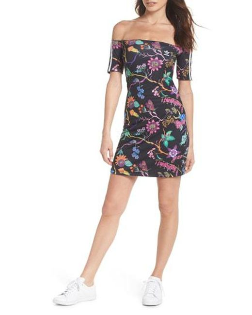 4f523d27a209 Adidas - The Poisonous Garden Reversible No Shoulder Dress In Black - Lyst  ...
