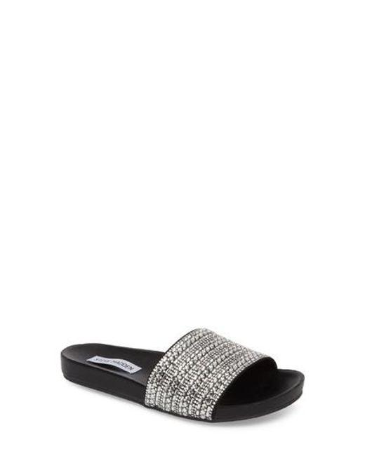 Steve Madden   Black Dazzle Embellished Slide Sandal   Lyst