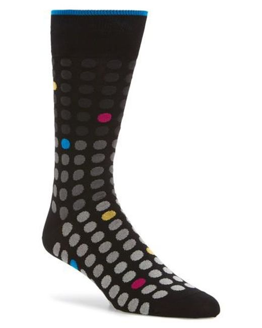 Bugatchi | Black Polka Dot Crew Socks for Men | Lyst