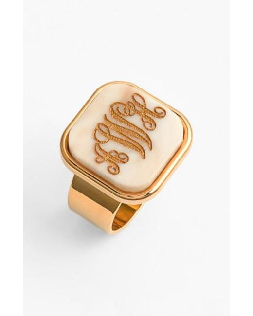 Moon & Lola | Metallic 'vineyard' Personalized Monogram Ring | Lyst
