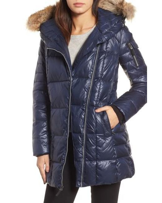 Andrew Marc | Blue Down & Feather Fill Coat With Genuine Coyote Fur | Lyst
