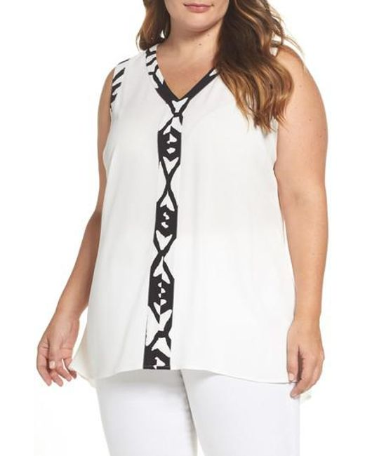 Vince Camuto | White Print Trim High/low Blouse | Lyst