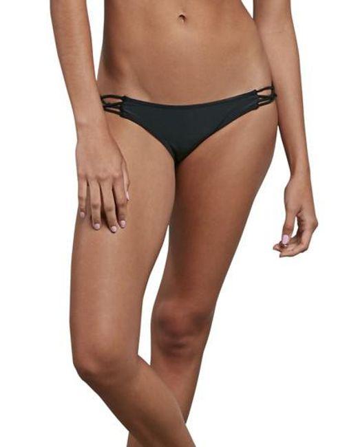 Volcom   Black Simply Solid Macrame Bikini Bottoms   Lyst