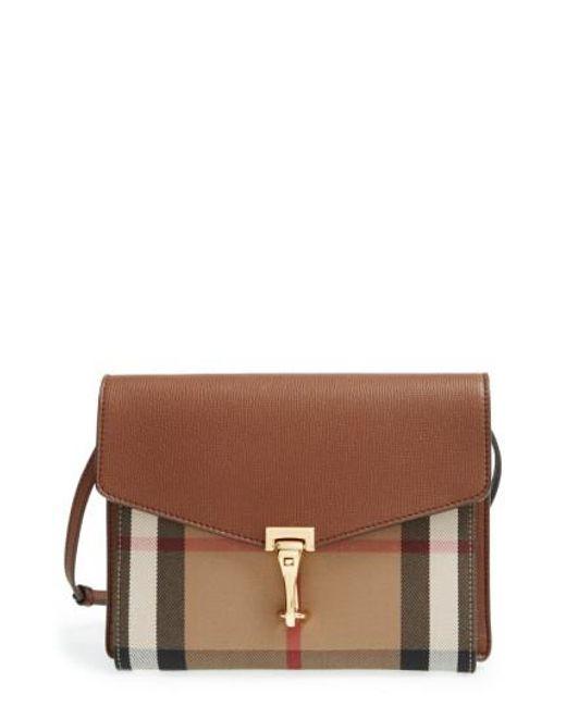 Burberry - Brown 'small Macken' Check Crossbody Bag - Lyst