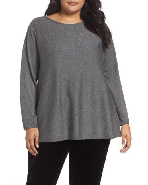 Eileen Fisher | Gray Shimmer Bateau Neck Sweater | Lyst