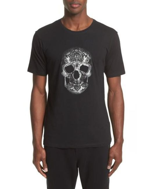 The Kooples | Black Embroidered Skull Graphic T-shirt for Men | Lyst