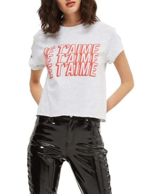TOPSHOP | Gray Je T'aime Graphic Crop Tee | Lyst