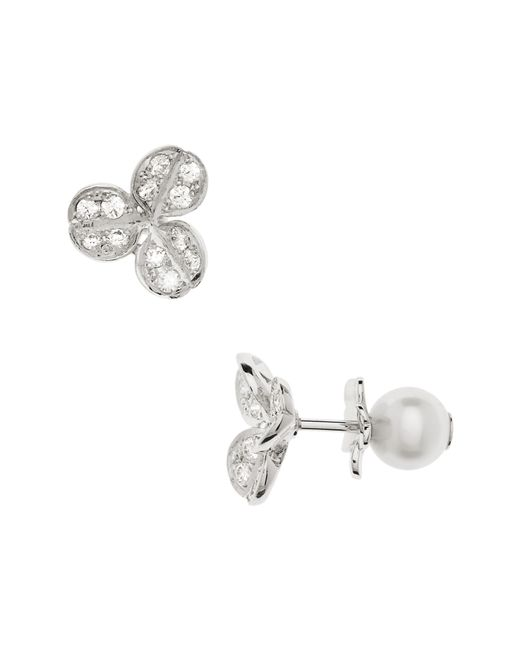 Mikimoto - Metallic Pearl & Diamond Front/back Earrings - Lyst