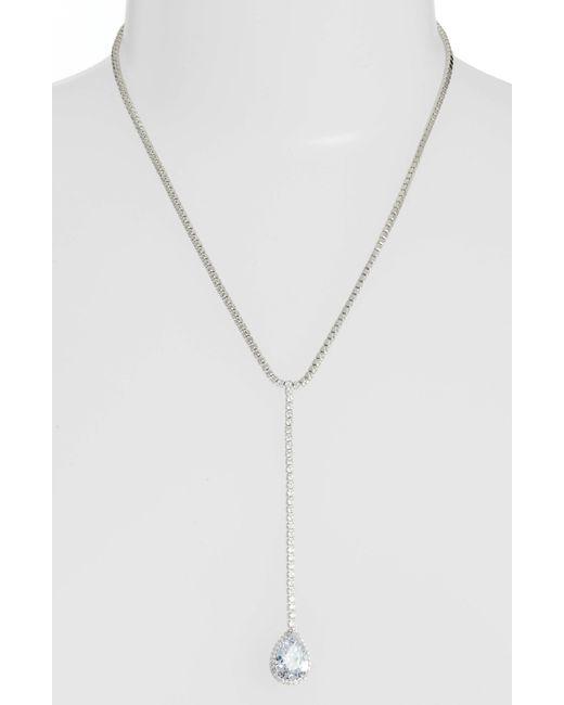 Nina - Metallic Teardrop Cubic Zirconia Y-shape Necklace - Lyst