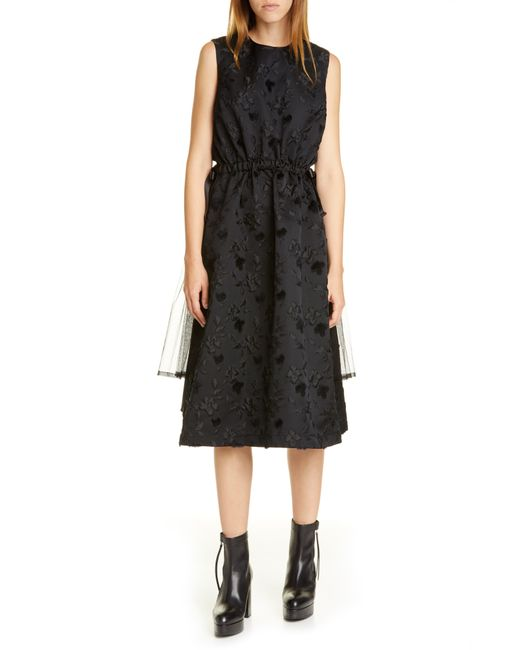 Noir Kei Ninomiya Black Floral Midi Dress
