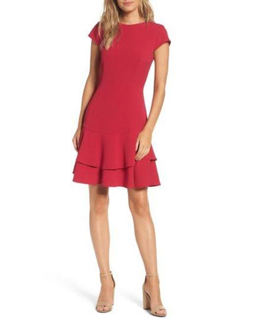 Eliza J | Red Stretch Crepe Sheath Dress | Lyst