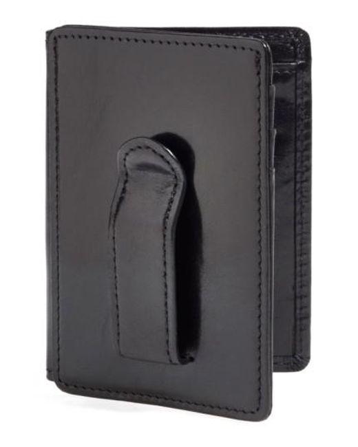Bosca - Black 'old Leather' Front Pocket Id Wallet for Men - Lyst