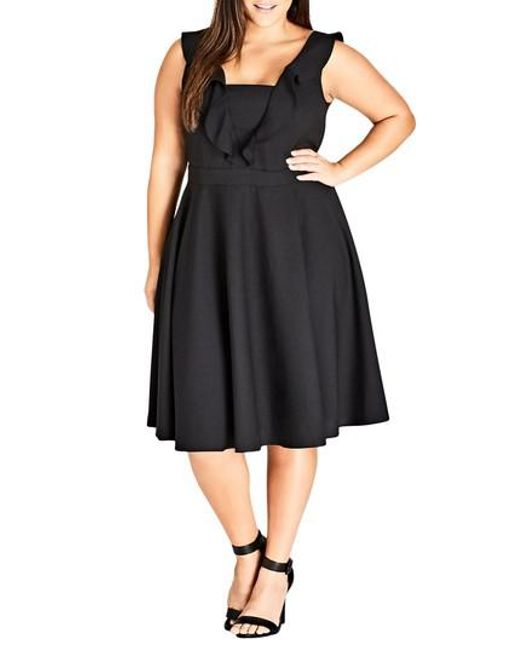 City Chic - Black Flirty Flutter A-line Dress - Lyst