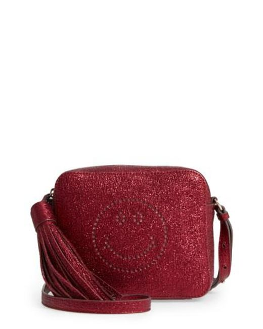 Anya Hindmarch | Red Smiley Metallic Leather Crossbody Bag | Lyst
