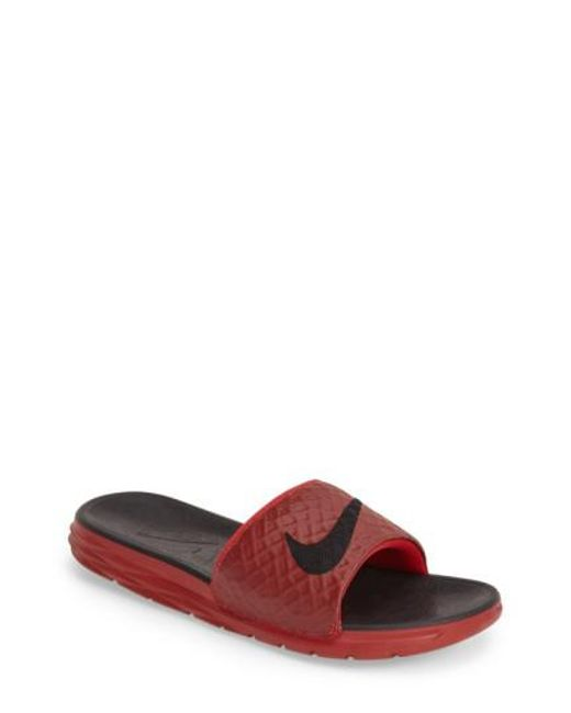 Nike - Red 'benassi Solarsoft 2' Slide Sandal for Men - Lyst