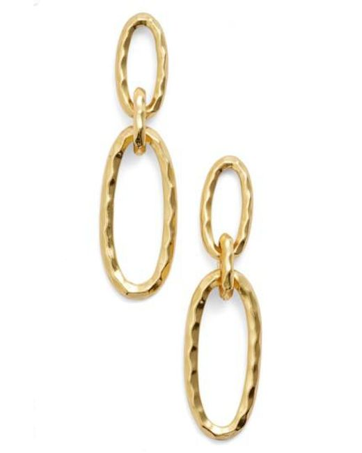 Karine Sultan | Metallic Double Oval Link Earrings | Lyst