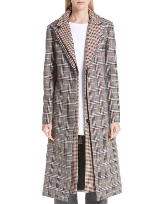 Monse - Gray Layered Plaid Wool Blend Coat - Lyst